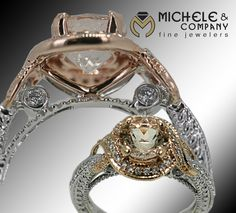 This two tone 14 karate rose gold and white gold features .35 total carat weight of diamonds as the accent stones and puts a gorgeous 1.46 carat morganite center stage. It's a stunning example of just how elegant an alternative center stone can be. www.michele-co.com  www.facebook.com/MicheleCoJewelers