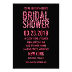 Black Pink Glitter Typography Bridal Shower Invite