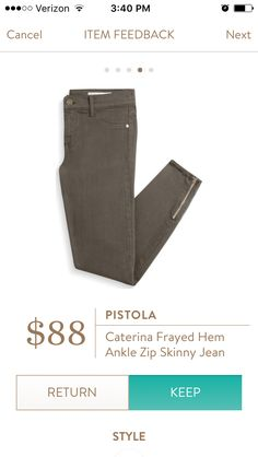 Pistola caterina frayed hem ankle zip skinny jean. I love Stitch Fix! A personalized styling service and it's amazing!! Simply fill out a style profile with sizing and preferences. Then your very own stylist selects 5 pieces to send to you to try out at home. Keep what you love and return what you don't. Only a $20 fee which is also applied to anything you keep. Plus, if you keep all 5 pieces you get 25% off! Free shipping both ways. Schedule your first fix using the link below! #stitchfix…