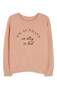 Primark - Favourites Blush Sunday Slogan Sweatshirt