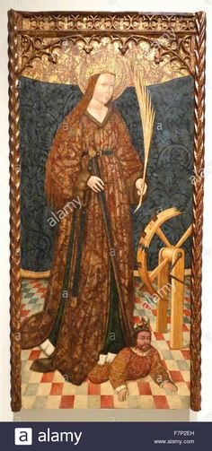 Painting depicting Saint Catherine of Alexandria, Christian saint and virgin, who was martyred in the early 4th century at the hands of the pagan emperor Maxentius. In the background of the painting is a spiked breaking wheel. Dated 15th Century Stock Photo