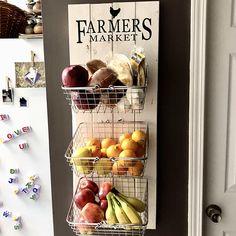 Farmers Market Rustic Produce Wall Hang Kitchen Fruit and Rustic Kitchen Decor, Kitchen Decor Themes, Farmhouse Decor, Decorating Kitchen, Kitchen Ideas, Kitchen Hacks, Boho Kitchen, Country Kitchen, Rustic Decor