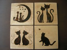 Here Kitty Kitty Handmade Wood Burned by AllThingsButterfly
