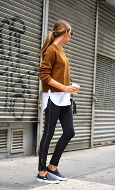Le Fashion Blog Weekend Style Brown Sweater Button Down Shirt Leather Stripe Pants Vans Sneakers Via The Quarter Life Closet