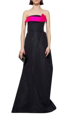 Navy Pink Silk Strapless Evening Gown by Oscar de la Renta Now Available on Moda Operandi    jαɢlαdy