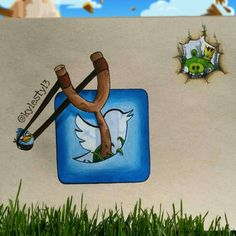 Twitter and Angry Birds Social Media Mash Up Drawing