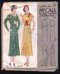 1932 McCall Pattern Ladies' Art Deco Dress with Wrap Around Collar | eBay