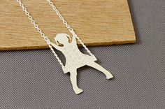 SUMMER SALE 10 off Silver swing necklace girl on a swing by tuliya, $24.00