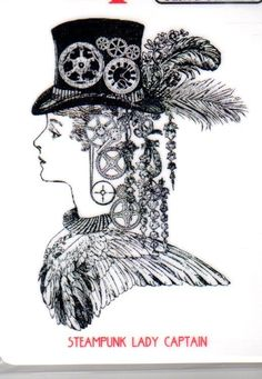 Steampunk Lady Captain Rubber Stamp - Stamping Mixed Media Cardmaking - $7.49
