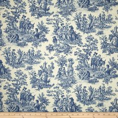 Waverly Charmed Life Toile Cornflower - Fabric.com Toile Curtains, French Country Interiors, Waverly Fabric, Turkish Tiles, Portuguese Tiles, Tile Murals, Acoustic Panels, Upholstered Furniture, Amazon Art