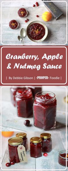 Cranberry, apple and nutmeg sauce a great homemade Christmas present and perfect condiment to Christmas dinner