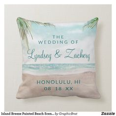 Shop Island Breeze Painted Beach Scene Wedding Monogram Throw Pillow created by GraphicBrat. Ring Bearer Pillows, Ring Pillow, Monogram Wedding, Personalized Wedding, Beach Scene Painting, Destination Wedding, Wedding Suite, Beach Scenes, Summer Wedding