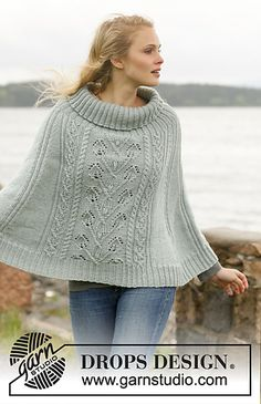 Frozen Ivy - Poncho with cables and leaf FREE Knit pattern in Karisma