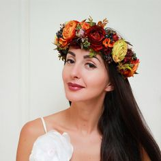 Fall Flower Crown Autumn Wreath Weddings By ByKochetova