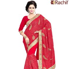 Look ravishingly beautiful in your friend's wedding by draping this designer red saree.