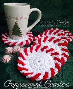 Peppermint Coasters A Free Crochet Pattern on The Purple Poncho #christmasinjuly #freecrochetpattern #crochetcoasters