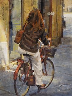 "Woman on Bicycle, Via Cenami by James Crandall Oil ~ 16"" x 12"""