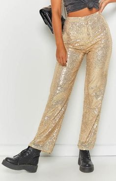 Rooftop Party Pants Gold Sequin Rooftop Party, Rooftop Garden, Festival Looks, Outfit Goals, Parachute Pants, Harem Pants, Sequins, Outfits, Collection