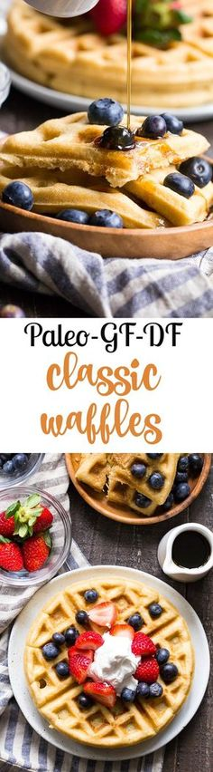 These classic paleo waffles are crisp on the outside, soft and fluffy on the inside, freezable, and family approved! Gluten free, grain free, dairy free, refined sugar free, and easy to make.