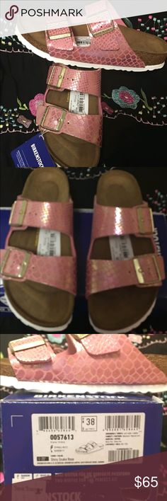 NIB PINK BIRKENSTOCKS These are adorable new Birkenstocks in the box. I think I have taken enough pictures to answer most questions but if not, please ask. Birkenstock Shoes Sandals
