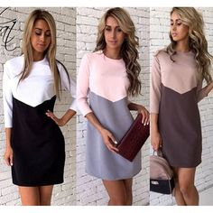 3 color Plus Size S~XL New Fashion Office Style Casual Basic Bottoming Patchwork Sexy A Line Women Autumn And Winter Dress #Affiliate