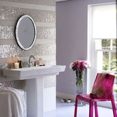 Picture for 70 Feminine Bathroom Design Ideas - Discover home design ideas, furniture, browse photos and plan projects at HG Design Ideas - connecting homeowners with the latest trends in home design & remodeling Feminine Bathroom, White Bathroom, Bathroom Wall, Wall Tile, Glamorous Bathroom, Design Bathroom, Bling Bathroom, Lilac Bathroom, Bathroom Lighting