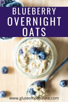 These Blueberry Overnight Oats using oats, milk, and juicy ripe blueberries will be a new favorite breakfast option in your house. Gluten Free Quick Bread, Gluten Free Coffee Cake, Gluten Free Donuts, Gluten Free Recipes For Breakfast, Gluten Free Dinner, Breakfast Options, Gluten Free Breakfasts, Make Ahead Breakfast, Gluten Free Desserts