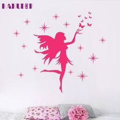 KAKUDER Fairy Stars Butterflies Removable Kids Wall Stickers Girls sticker for kids rooms  vinilos paredes U6711 DROP SHIP #Affiliate