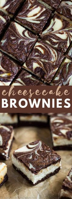 Cheesecake Brownies - Scrumptiously rich and fudgy brownies topped with a creamy.Cheesecake Brownies - Scrumptiously rich and fudgy brownies topped with a creamy cheesecake layer with a brownie swirl. A perfect cheesecake brownie combination! Homemade Cheesecake, Cheesecake Cupcakes, Cheesecake Recipes, Dessert Recipes, Cheesecake Swirl Brownies, Birthday Cheesecake, Cheesecake Decoration, Blondie Brownies, Caramel Cheesecake