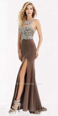 Allure the crowd with your arrival in this Damask Rhinestone Beaded Racer Back Evening Dress by Jasz Couture. This style features a mock halter neckline with a cut out and a unique double strap racer back. The bodice is fully embellished with rhinestone embellishments and includes a center back zipper. The skirt features a sexy thigh high slit and a sweep train perfect for an elegant arrival. #edressme