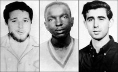 June 21st, 1964 - Civil Right Activists, Andrew Goodman, murdered at 20,  James Chaney, murdered at 21, Michael Schwerner, murdered at 24.  American civil rights activists for Congress of Racial Equality (CORE) who were murdered during Freedom Summer near Philadelphia, Mississippi, in 1964 by members of the Ku Klux Klan