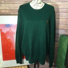 c79ae0cee Polo Ralph Lauren Mens Knit Orange Pony Cotton Sweater Crewneck Green size  Large  PoloRalphLauren  Crewneck