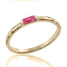 14k Gold Exuberent Baguette Ruby Engagement Ring, Ruby Ring, Ruby Jewelry on Etsy, $298.00
