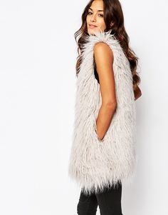 Religion Longline Faux Fur Vest In Shaggy Longhair