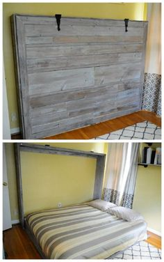 A Murphy bed, also known as a wall bed or pull-down bed, is a hinged bed that can be stored away easily. Pick one of these murphy bed plans to suit you. Cama Murphy, Murphy Bed Ikea, Murphy Bed Plans, Murphy Bed Office, Murphy Bes, Murphy Bed With Desk, Murphy Bed Couch, Murphy Bunk Beds, Build A Murphy Bed