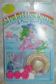 New Vtg G1 1984 My Little Pony TEA PARTY Straw Hat Wear Mint Card Clothing Set