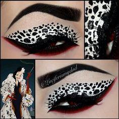 Maquillaje sombra de ojos inspirado en Cruela Devil, 101 Dalmatas.