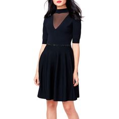 Rachel Rachel Roy Black Embellished Waist Fit And Flare Dress -... ($111) ❤ liked on Polyvore featuring dresses, black, going out dresses, rachel rachel roy dresses, night out dresses, elbow length sleeve dress and sleeved dresses