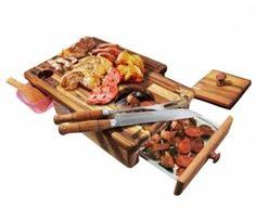 Kit p/ Churrasco Master Grill - Tábua de Carne, Garfo e Faca (Cabo Alumínio/Madeira) + Ganhe a Bíblia do Churrasco! - Tudo para boteco