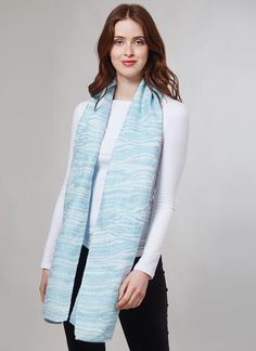 Blarney Irish Linen Blue Paradiso Scarf: Handmade with care in Ireland, this bright blue and beautiful scarf has been finely woven from Blarney Irish linen, and is a perfect accessory for spring. Irish Fashion, Woolen Mills, Summer Collection, Spring Fashion, Ireland, Gifts For Her, Scarves, Blue And White, Bright