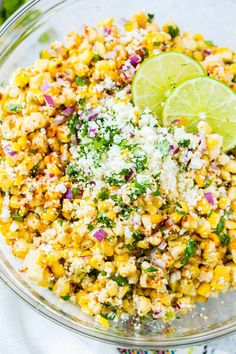 Aug 2018 - Every summer we enjoy plenty of grilled sweet corn, but this Elote Grilled Mexican Corn Salad is above and beyond with it's crema sauce, salty cotija cheese and that spicy seasoning! There's nothing like this killer BBQ side dish! Corn Salad Recipes, Corn Salads, Elote Corn Recipe, Recipes With Corn, Cold Corn Salad, Frozen Corn Recipes, Corn Salad Recipe Easy, Canned Corn Recipes, Gourmet