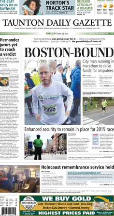 The front page of the Taunton Daily Gazette for Tuesday, April 14, 2015.
