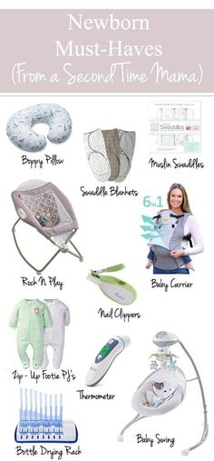 Must-Haves (From a Second Time Mama) The perfect newborn must-haves guide for new moms. Here is the best checklist for essential newborn items and baby products to list on your new mom survival guide. Baby Must Haves, New Born Must Haves, Must Haves For Newborn, Baby Boys, Baby Items Must Have, Baby Registry Items, Newborn Essentials, Baby Swings, Baby Arrival