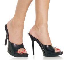 Pleaser Shoes Vogue-01 Black Slip-On Mules Stylish man-made leather mule in mysterious black! They feature a single wide strap in toe area with round cuts on both edges, tone-to-tone cushioning and matching black 0.75 inch (2cm) front platform http://www.MightGet.com/january-2017-12/pleaser-shoes-vogue-01-black-slip-on-mules.asp