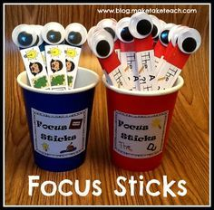 Focus sticks- a great tool to use to help students with writing. FREE printables to make your own focus sticks for your classroom. Free corresponding classroom posters!