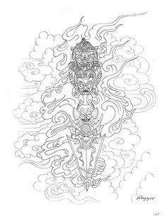 Paradise Tattoo, Gangsta's Paradise, Home Tattoo, Tattoo Art, Tibet Art, Sak Yant Tattoo, Oriental Tattoo, Buddhist Art, Line Tattoos