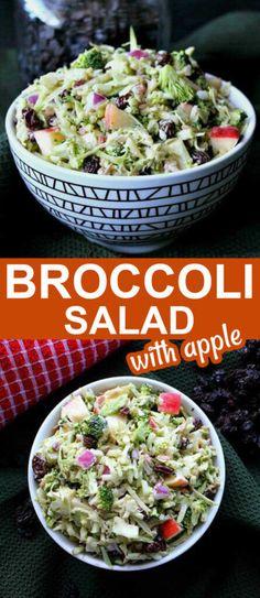 Apple Broccoli Salad, Broccoli Salad With Raisins, Apple Salad, Broccoli Slaw, Best Salad Recipes, Vegetable Recipes, Whole Food Recipes, Cucumber Recipes, Broccoli Recipes