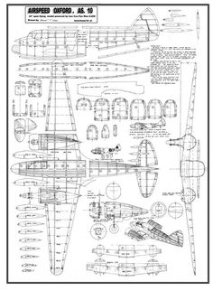 The Airspeed AS.10 Oxford is one of the model airplane plans available for download and printing.