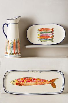 Discover unique Serveware & Entertaining products at Anthropologie, including the seasons newest arrivals. Shop serving platters, dishes, and pitchers. Pottery Painting, Ceramic Painting, Ceramic Art, Porcelain Painting Ideas, Painted Ceramics, Porcelain Ceramics, Ceramic Plates, Ceramic Pottery, Keramik Design