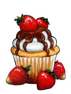 Cute Cupcake Drawing, Cupcake Painting, Food Art Painting, Cupcake Art, Food Drawing Easy, Cute Food Drawings, Art Drawings For Kids, Art Drawings Sketches Simple, Cute Food Art